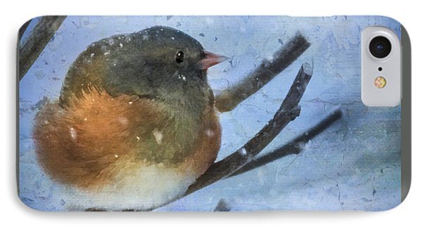 IPhone Case featuring the digital art Junco On Winter Day by Christina Lihani