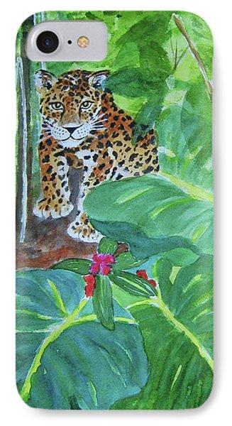 IPhone Case featuring the painting Jungle Jaguar by Ellen Levinson
