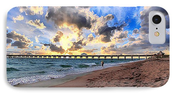 Juno Beach Pier Florida Sunrise Seascape D7 Phone Case by Ricardos Creations