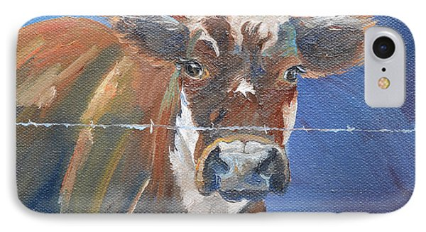 IPhone Case featuring the painting Just A Big Happy Cow On A Little Square Canvas by Jan Dappen
