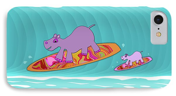 Just Like Momma - Hippos Surfing IPhone Case