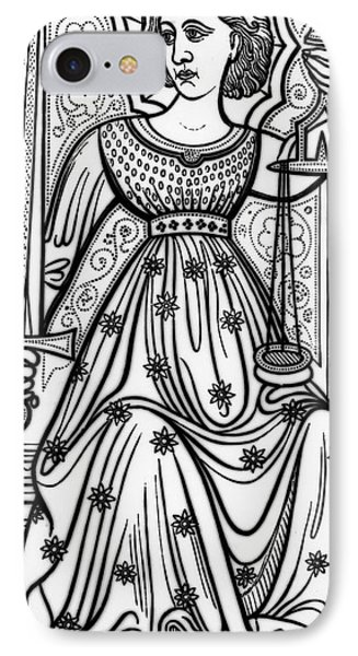 Justice Tarot Card IPhone Case