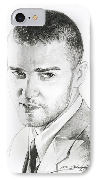 Justin Timberlake Drawing Phone Case by Lin Petershagen