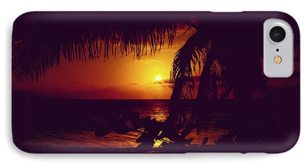 Kamaole Tropical Nights Sunset Gold Purple Palm IPhone Case by Sharon Mau
