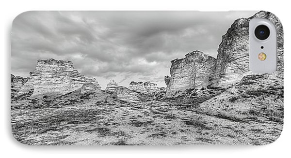 IPhone 7 Case featuring the photograph Kansas Badlands Black And White by JC Findley