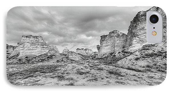 Kansas Badlands Black And White IPhone Case by JC Findley