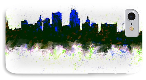 Ben Affleck iPhone 7 Case - Kansas City Skyline Blue  by Enki Art