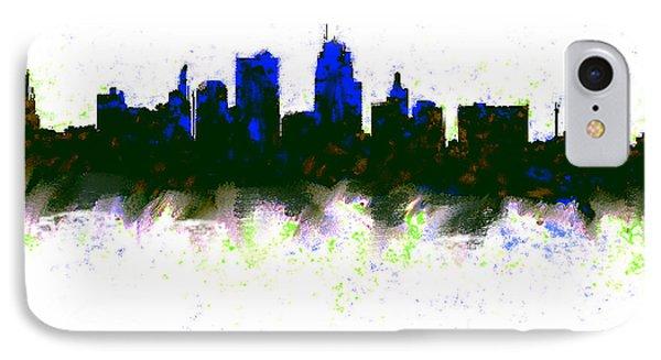 Kansas City Skyline Blue  IPhone 7 Case by Enki Art