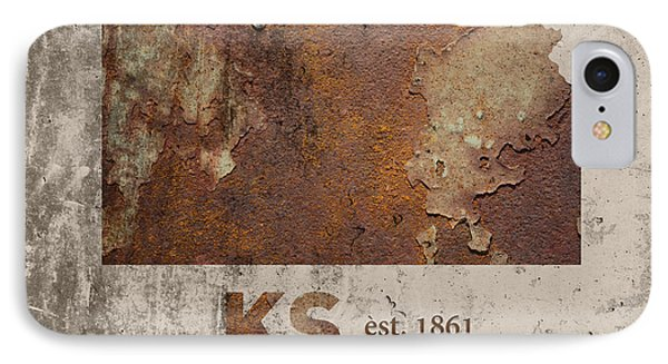 Kansas State Map Industrial Rusted Metal On Cement Wall With Founding Date Series 040 IPhone Case