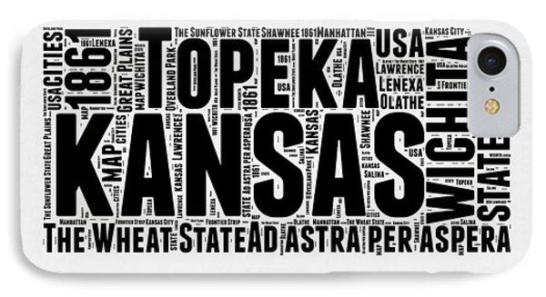 Kansas Word Cloud Map 2 IPhone Case by Naxart Studio