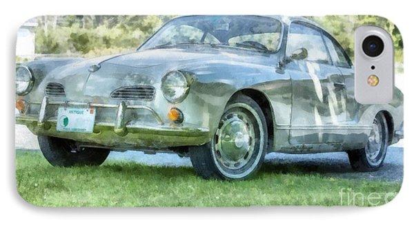 Karmann Ghaia Vintage Car Watercolor IPhone Case by Edward Fielding