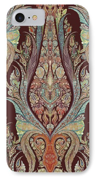 Kashmir Elephants - Vintage Style Patterned Tribal Boho Chic Art IPhone Case by Audrey Jeanne Roberts