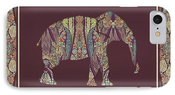 Kashmir Patterned Elephant 2 - Boho Tribal Home Decor  IPhone Case by Audrey Jeanne Roberts