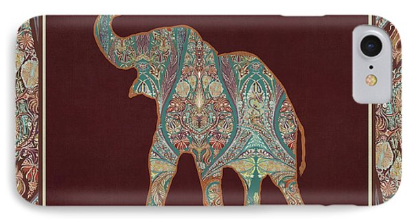 Kashmir Patterned Elephant 3 - Boho Tribal Home Decor IPhone Case by Audrey Jeanne Roberts