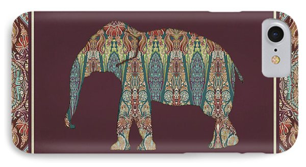 Kashmir Patterned Elephant - Boho Tribal Home Decor  IPhone Case by Audrey Jeanne Roberts