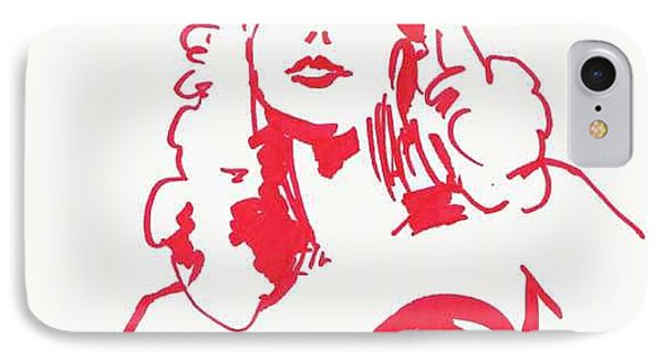 IPhone Case featuring the drawing Kate Moss by Seth Weaver