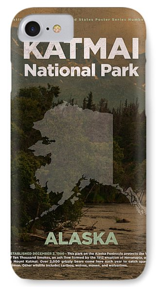 Katmai National Park In Alaska Travel Poster Series Of National Parks Number 34 IPhone Case by Design Turnpike