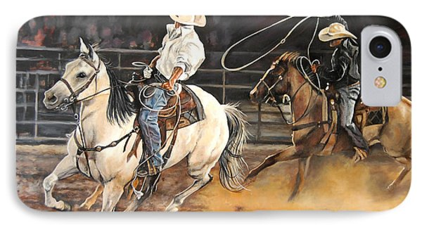 Kat's Cowboys IPhone Case by Leisa Temple