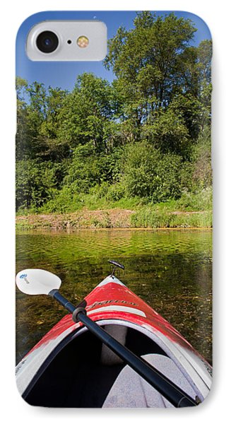Kayak On A Forested Lake IPhone Case by Steve Gadomski