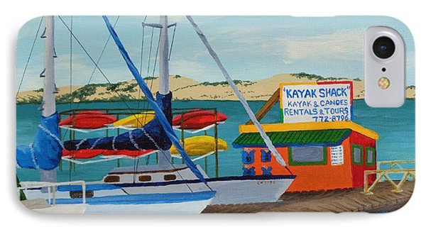 IPhone Case featuring the painting Kayak Shack Morro Bay California by Katherine Young-Beck