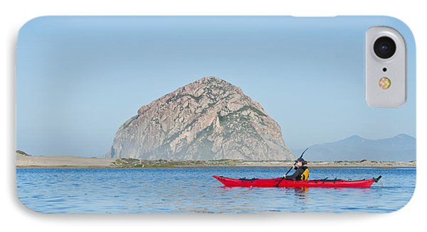 Kayaker In Morro Bay Phone Case by Bill Brennan - Printscapes