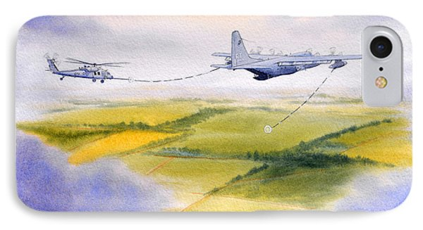 IPhone Case featuring the painting Kc-130 Tanker Aircraft Refueling Pave Hawk by Bill Holkham