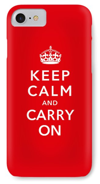 Keep Calm And Carry On IPhone Case by War Is Hell Store