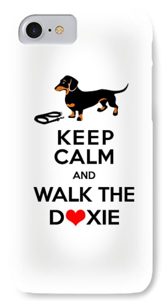 Keep Calm And Walk The Doxie IPhone Case by Antique Images