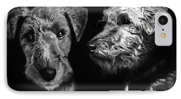 IPhone Case featuring the drawing Keeper The Welsh Terrier by Peter Piatt