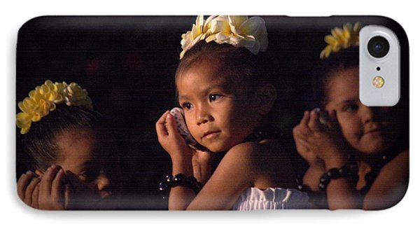IPhone Case featuring the photograph Keiki Conch Shell Hula by Lori Seaman