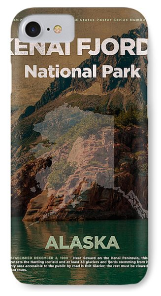 Kenai Fjords National Park In Alaska Travel Poster Series Of National Parks Number 35 IPhone Case by Design Turnpike