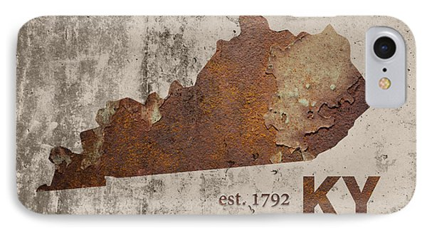 Kentucky State Map Industrial Rusted Metal On Cement Wall With Founding Date Series 002 IPhone Case