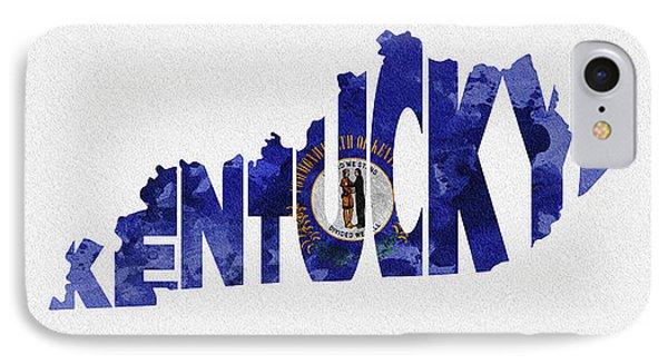 Kentucky Typographic Map Flag IPhone Case