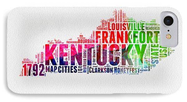 Kentucky Watercolor Word Cloud Map IPhone Case by Naxart Studio