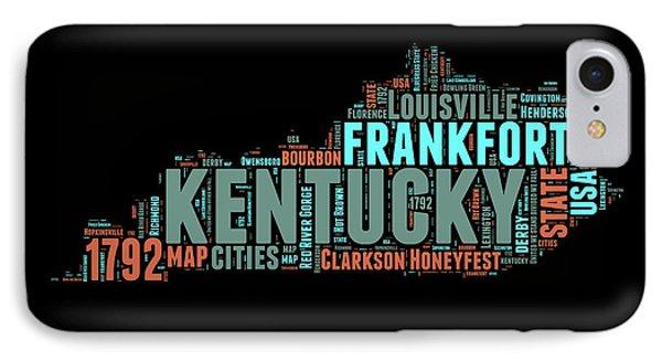 Kentucky Word Cloud Map 1 IPhone Case by Naxart Studio