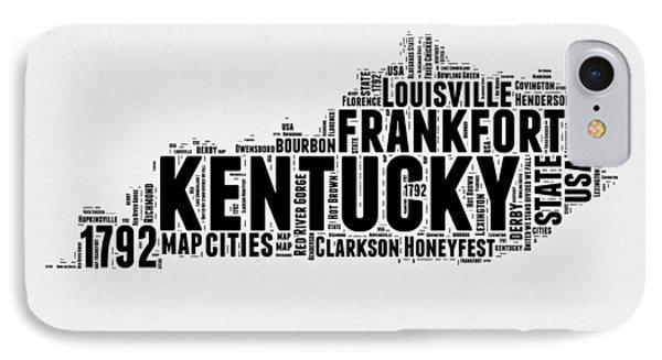 Kentucky Word Cloud Map 2 IPhone Case by Naxart Studio