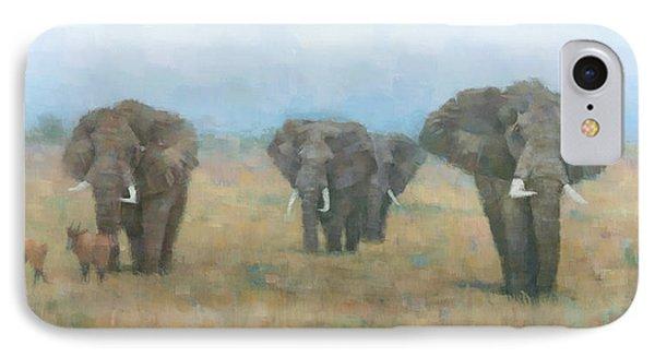 Kenyan Elephants IPhone Case by Steve Mitchell
