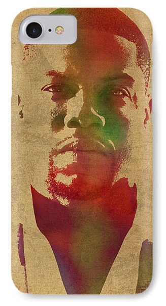 Kevin Hart Comedian Watercolor Portrait IPhone Case by Design Turnpike