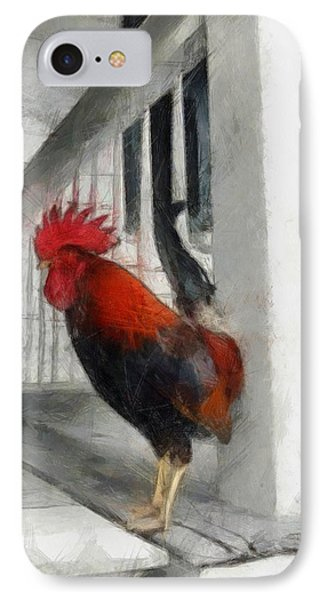 Key West Porch Rooster IPhone Case by Michelle Calkins