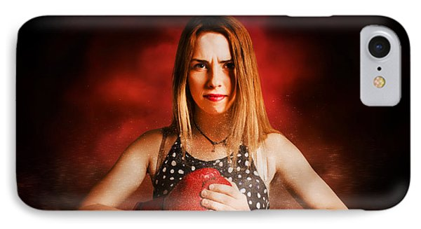 Kickboxing Gym Girl In Boxing Fitness Competition  IPhone Case by Jorgo Photography - Wall Art Gallery