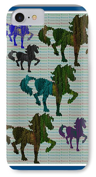 Kids Fun Gallery Horse Prancing Art Made Of Jungle Green Wild Colors IPhone Case by Navin Joshi