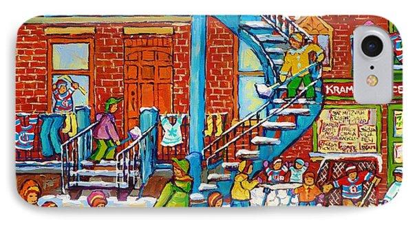Kids Winter Playground Kramer's Grocer Street Scene Toboggan Skiiers Hockey Art Canadian Paintings   IPhone Case by Carole Spandau