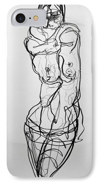 IPhone Case featuring the drawing Kilroy 5 by Jarmo Korhonen aka Jarko
