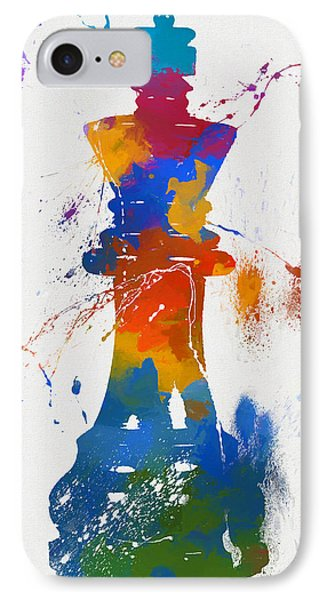 King Chess Piece Paint Splatter IPhone Case by Dan Sproul