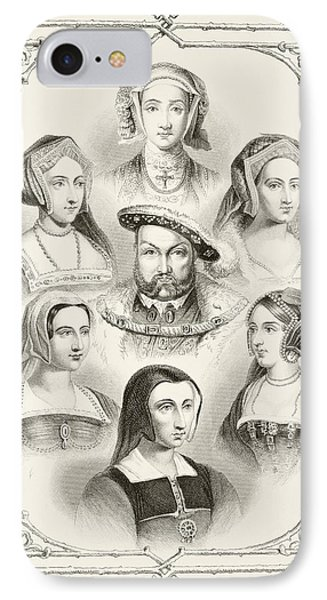 King Henry Viii Of England And His Six IPhone Case by Vintage Design Pics