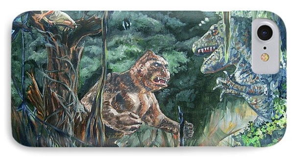 IPhone Case featuring the painting King Kong Vs T-rex by Bryan Bustard