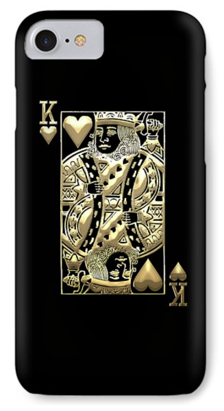 King Of Hearts In Gold On Black IPhone Case