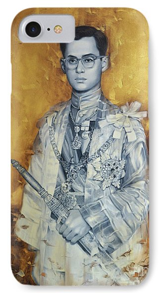 IPhone Case featuring the painting King Phumiphol by Chonkhet Phanwichien