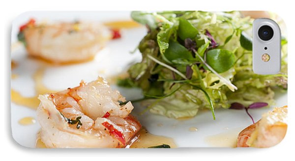 King Prawns Ginger Chilli And Coriander Starter Presented On A White Background Phone Case by Andy Smy