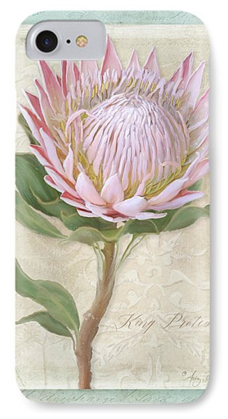 IPhone Case featuring the painting King Protea Blossom - Vintage Style Botanical Floral 1 by Audrey Jeanne Roberts